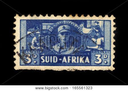 South Africa - CIRCA 1941: A stamp printed by South Africa shows women serving in the army, series war effort , circa 1941