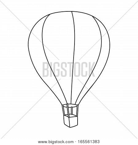 Airballoon icon in outline design isolated on white background. Rest and travel symbol stock vector illustration.