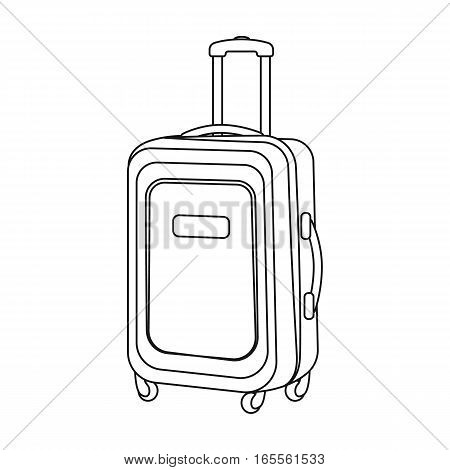 Travel luggage icon in outline design isolated on white background. Rest and travel symbol stock vector illustration.
