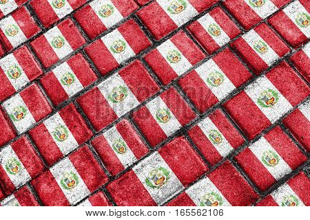 Peru Flag Urban Grunge Pattern