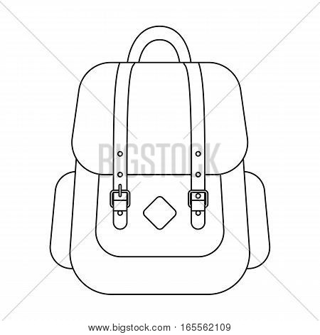 Hipster backpack icon in outline design isolated on white background. Hipster style symbol stock vector illustration.