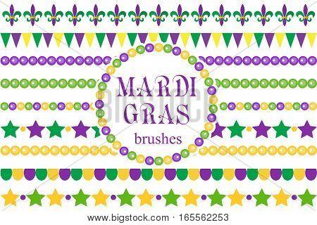 Mardi Gras borders set . Cute beads, fleur de lis ornaments, garland. Isolated on white background. Vector illustration