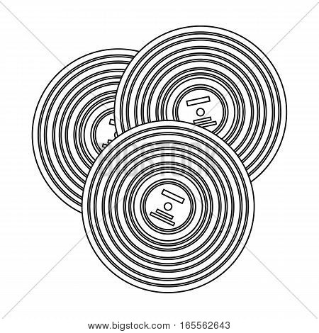 Vinyl records icon in outline design isolated on white background. Hipster style symbol stock vector illustration.