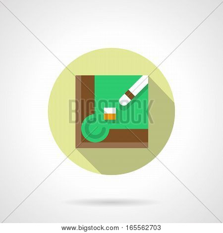 Billiard table corner with green felt, cue and chalk. Playing billiards game concept. Accessories and items for sport and activity leisure. Round flat design vector icon.