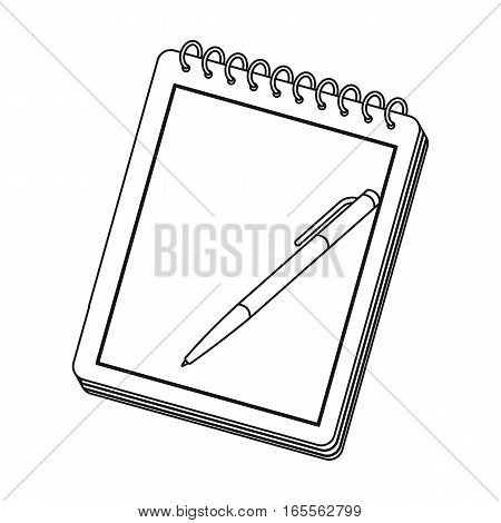 Notebook and pen icon in outline design isolated on white background. Hipster style symbol stock vector illustration.