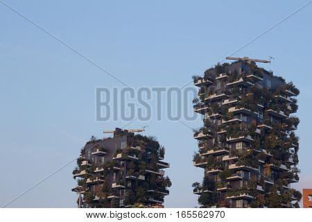 MILAN ITALY - October 22 2016: Bosco Verticale (Vertical Forest) complex building designed by Stefano Boeri