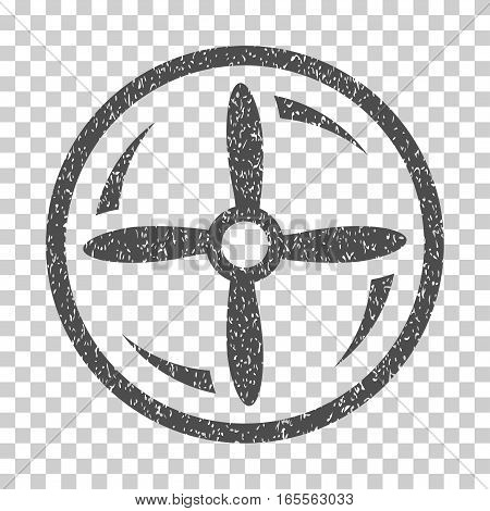 Drone Screw Rotation grainy textured icon for overlay watermark stamps. Flat symbol with dirty texture. Dotted vector gray ink rubber seal stamp with grunge design on a white background.