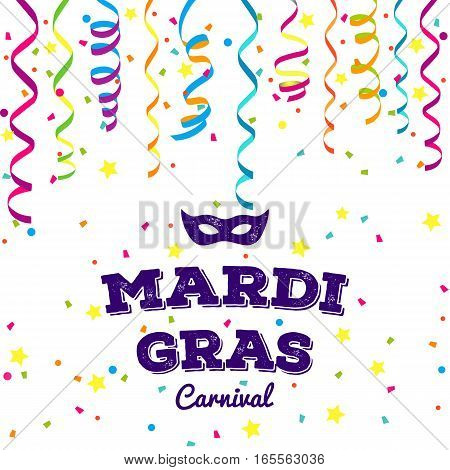 Mardi Gras traditional symbols collection - carnival masks, party decorations. Vector illustration isolated on white background.