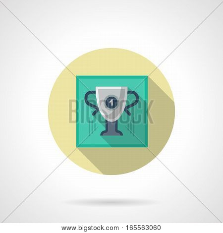 Gray winner cup with number 1 and blue elements. Individual sport championship. Trophy for first place in golf tournament. Round flat design vector icon.