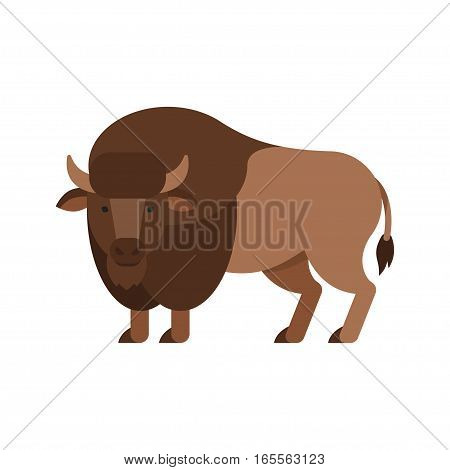 Vector flat style illustration of aurochs. Icon for web. Isolated on white background.