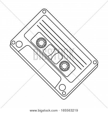 Audio cassette icon in outline design isolated on white background. Hipster style symbol stock vector illustration.