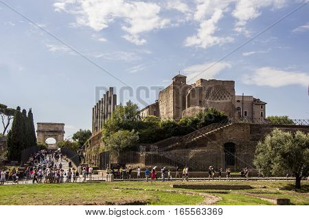 Entry to the ruins of the Roman Forum, Ancient Forum Romanum. Rome, Italy