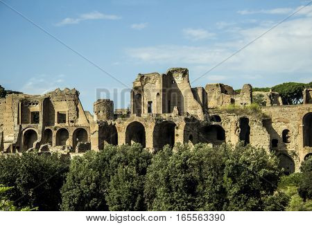 The ruins of the ancient Baths of Caracalla in Rome, Italy