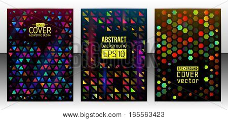 Geometric shapes brochure template layout. Triangle cover design annual report. Polygonal design flyer or booklet. Abstract hexagon magazine background. Vector Illustration esp10