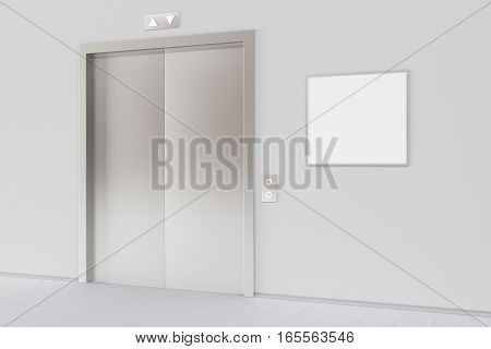 Elevator And Blank Poster Or Billboard In The Modern Office Lobby