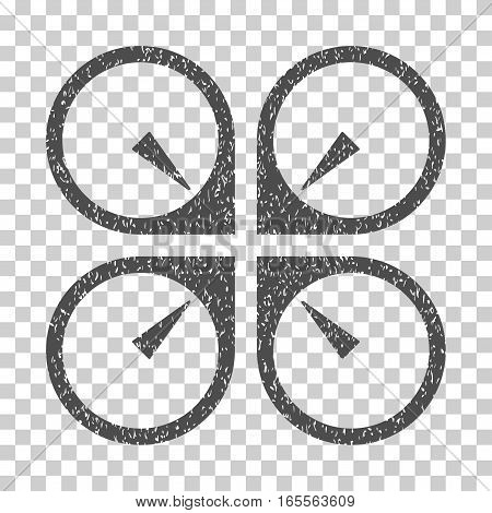 Hover Drone grainy textured icon for overlay watermark stamps. Flat symbol with dust texture. Dotted vector gray ink rubber seal stamp with grunge design on a white background.
