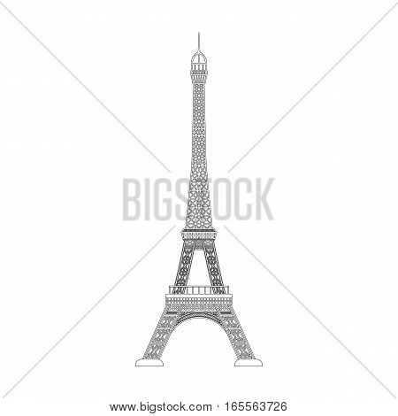 Eiffel tower icon in outline design isolated on white background. Countries symbol stock vector illustration.