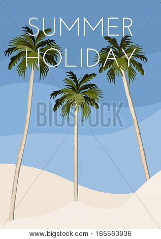 Three palm trees on the beach. Travel poster
