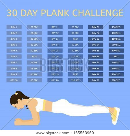 30 day plank challenge. Young woman performing an exercise, «Plank