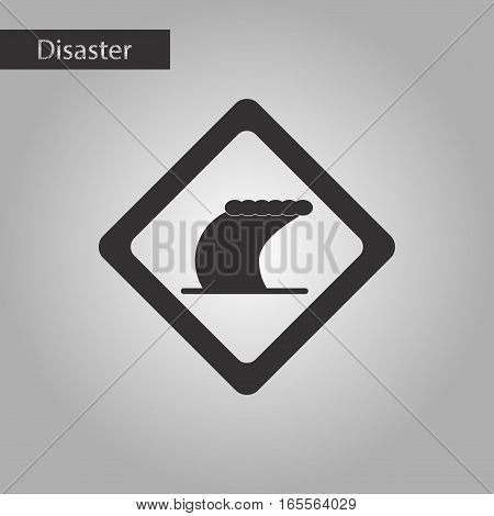 black and white style icon of tsunami sign