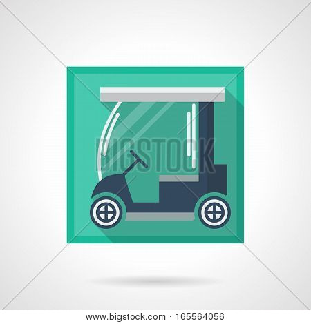 Golfing club elements and objects. Blue electric cart for transportation of sport equipment on a golf course. Stylish square flat design vector icon with long shadow.