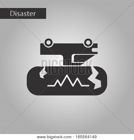 black and white style icon of natural disaster earthquake