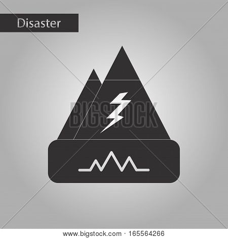 black and white style icon of disaster earthquake