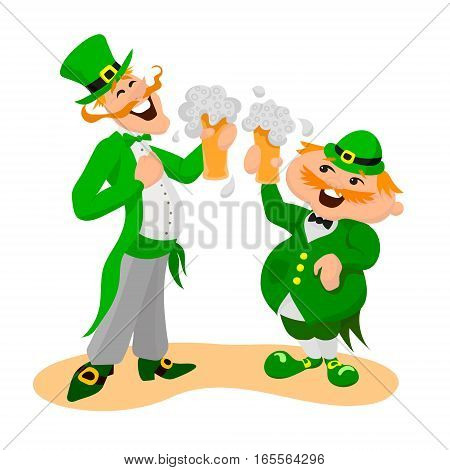 Saint Patrick's day. Two happy Englishmen with glasses of beer. Vector illustation on white background.