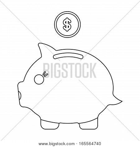 Donation piggybank icon in outline design isolated on white background. Charity and donation symbol stock vector illustration.