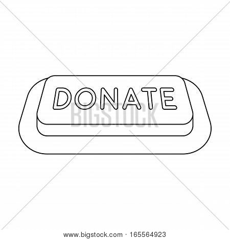 Donate button icon in outline design isolated on white background. Charity and donation symbol stock vector illustration.