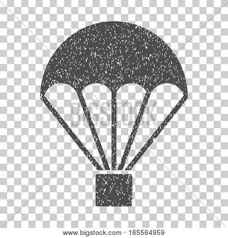 Parachute grainy textured icon for overlay watermark stamps. Flat symbol with dust texture. Dotted vector gray ink rubber seal stamp with grunge design on a white background.