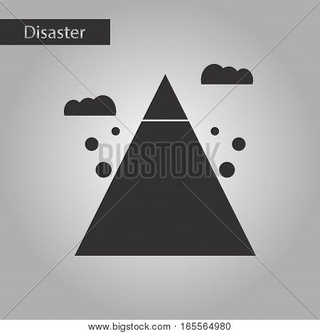 black and white style icon of Mountain stones fall