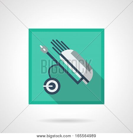 Golf club equipment and elements. Symbol of white wheeled bag with kit of putters and sticks. Golfing concept. Stylish square flat design vector icon with long shadow.