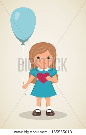 Romantic card for Valentines Day. Loving girl in smart dress turquoise dress with long hair, smiling girl with heart in his hands and balloon on light background, vector illustration