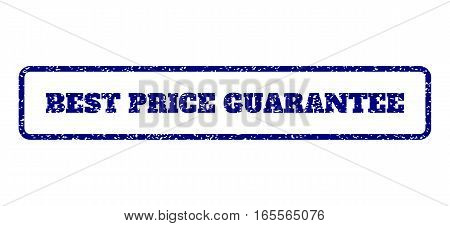 Navy Blue rubber seal stamp with Best Price Guarantee text. Vector message inside rounded rectangular shape. Grunge design and scratched texture for watermark labels.