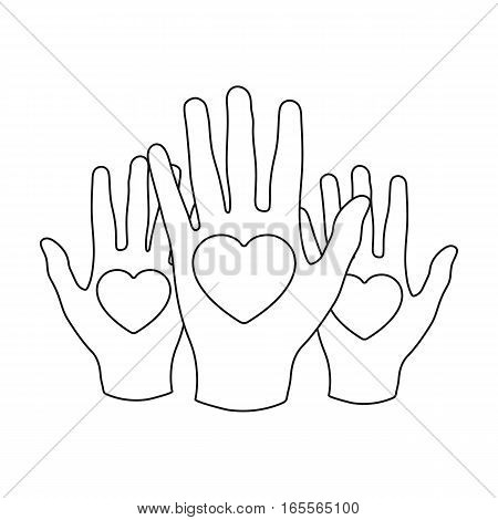 Hands up with hearts icon in outline design isolated on white background. Charity and donation symbol stock vector illustration.