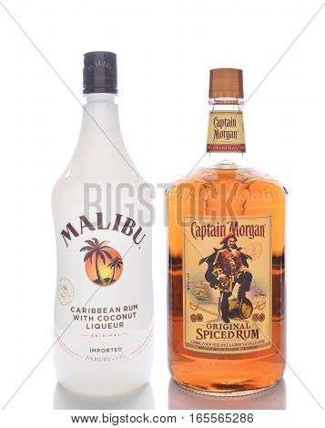 IRVINE CALIFORNIA - JANUARY 13 2017: Malibu and Captain Morgan Spiced Rum. Two of the most popular flavored rums in the world.