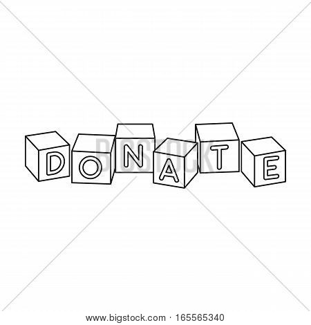 Toys donation icon in outline design isolated on white background. Charity and donation symbol stock vector illustration.