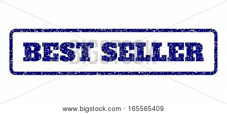 Navy Blue rubber seal stamp with Best Seller text. Vector message inside rounded rectangular frame. Grunge design and scratched texture for watermark labels. Horisontal sticker on a white background.