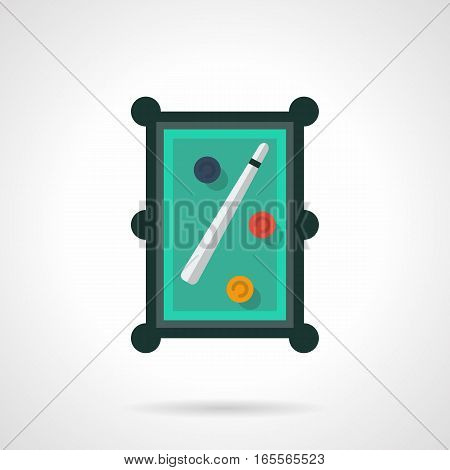 A top view of snooker table with white cue and three colorful balls. Billiards sport games, activity recreation. Equipment for poolroom. Flat color style vector icon.