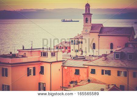 Seascape vintage landscape and architecture Genoa Boccadasse.