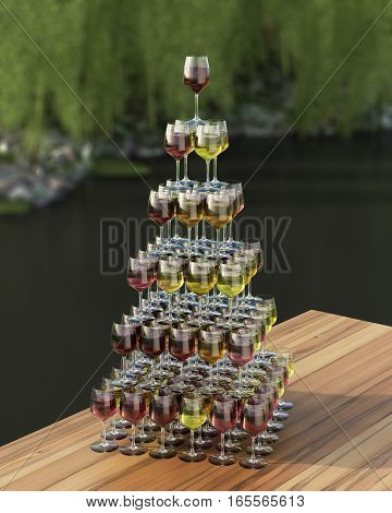 Tasting Wine With Palette In The Form Of A Pyramid Of Red, Roze And White Wines In Glasses