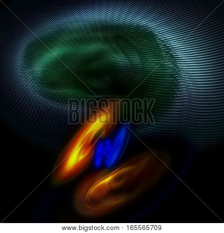 3D illustration - Strange abstract image of blobs viewed through a screen.