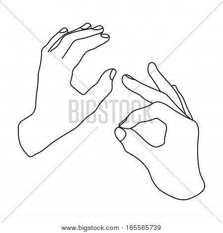 Sign language icon in outline design isolated on white background. Interpreter and translator symbol stock vector illustration.