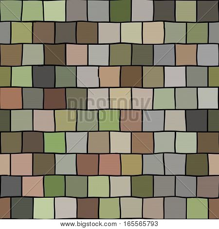 Colorful graphic square brickwall block tile seamless pattern
