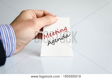 Meeting agenda text concept isolated over white background