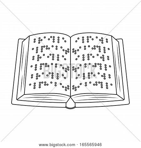 Book written in braille icon in outline design isolated on white background. Interpreter and translator symbol stock vector illustration.