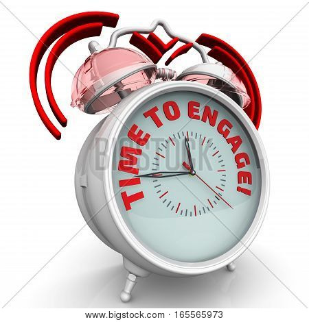 Time to engage! Alarm clock with the red words