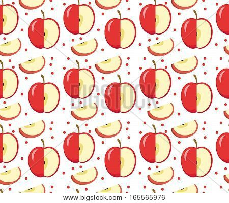 Apples seamless pattern. Red Apple endless background, texture. Fruits background. Vector illustration