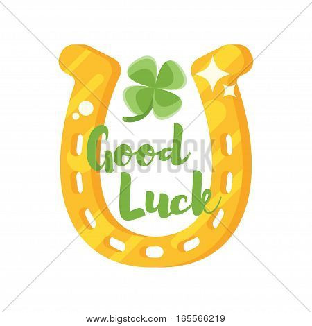 Vector flat style illustration of golden horseshoe with clover. Icon for web. Isolated on white background. Title